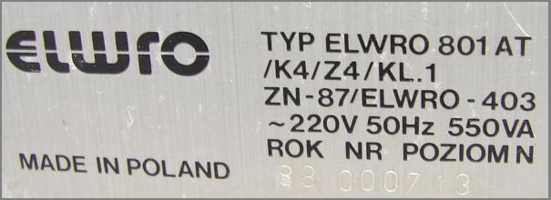 tabliczka Elwro 801 AT